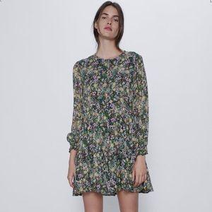 Zara Sprint Floral Print Swing Mini Dress, Large